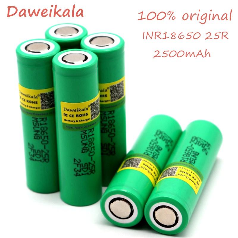 Daweikala 18650 оригинальная перезаряжаемая электронная сигарета 2500 мАч 3,6 В для Samsung INR 1865025R 20A