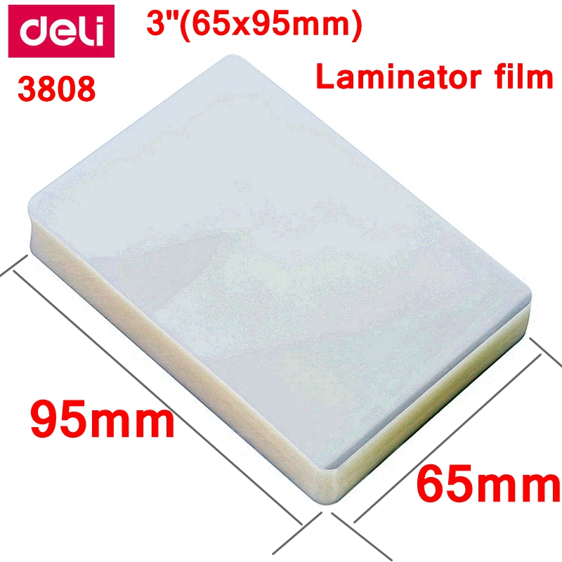 1 BAG 100PCS lot Deli 3808 thermal laminating film 3inch 65x95mm  size 70 mic photo documents PET hot laminator film pouch film