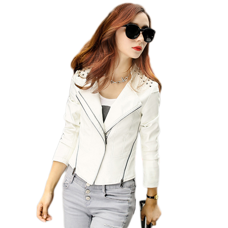 Autumn Ms motorcycle leather font b jacket b font Women PU leather font b jacket b