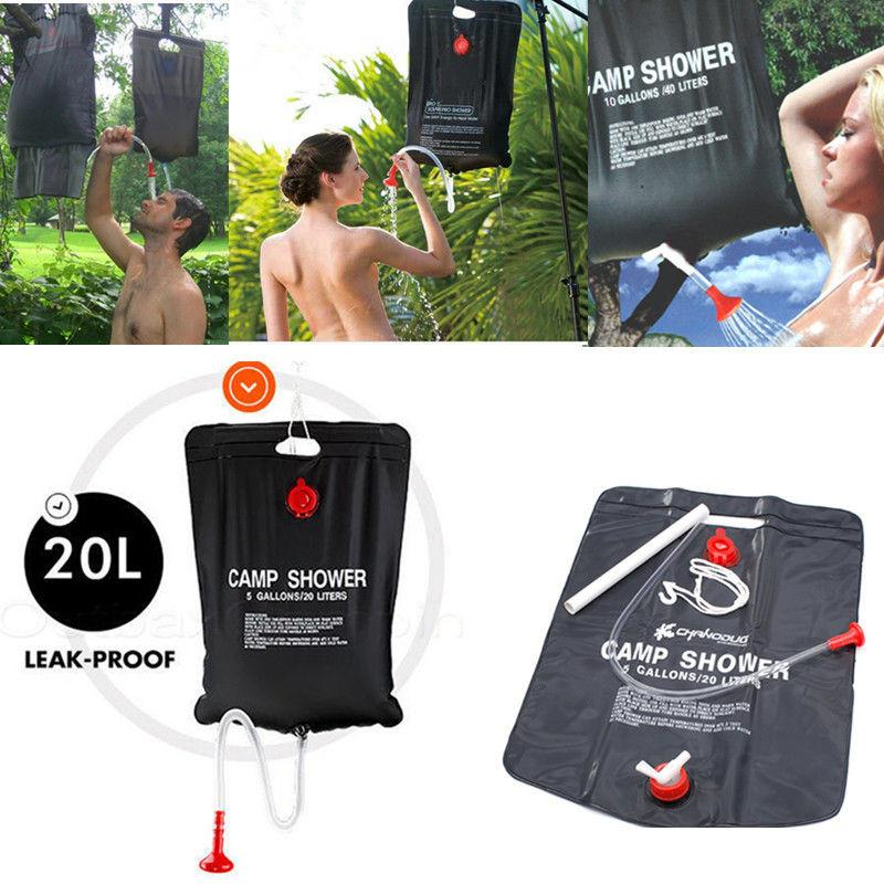 20L Solar Energy Heated Shower <font><b>Bag</b></font> Water <font><b>bag</b></font> Outdoor Camping Durable Equipment Outdoor Tool Conwenient Portable hot Black