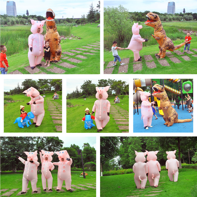 Inflatable Pink Pig Costume Adult Kids Dress Anime Cosplay Costumes Thanksgiving Christmas Pig Cute Funny Paty Cosplay Clothes