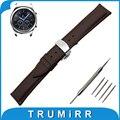 22mm faixa de relógio de couro genuíno para samsung gear clássico s3/frontier butterfly buckle strap correia de pulso pulseira marrom preto