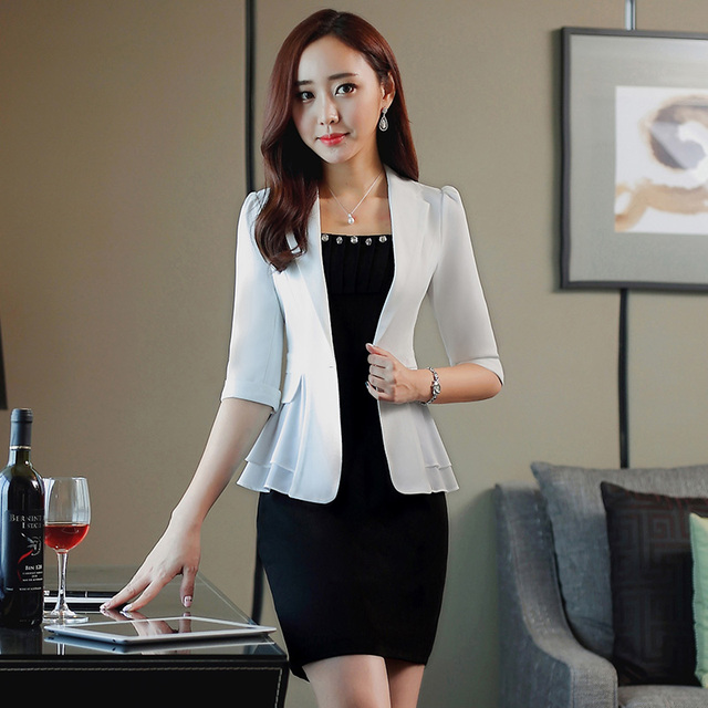 Fashion Slim Formal OL Styles Spring Summer Professional Business Suits With Jackets And Skirt Female Blazer Beauty Salon Sets