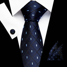 New Clasic Blue Black Tie for Men Silk Fabric Jacquard Woven Hanky Cufflinks Set Designer Fashion Ties