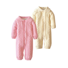 Baby Fashion Rompers Biys Girls Clothes Cotton Knitting Floral Infant Jumpsuit Winter Upset Warm Solid Coat(China)