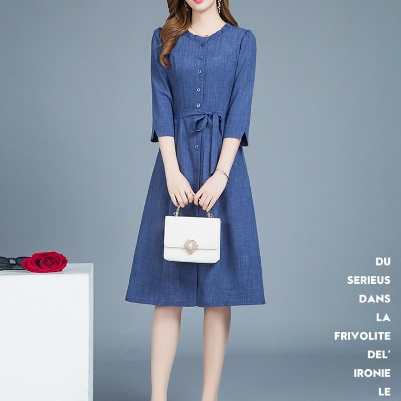 2019 nouveau automne et printemps bureau dame grande taille solide empire marque bleu Denim robe pour femmes femmes filles vêtements 79275