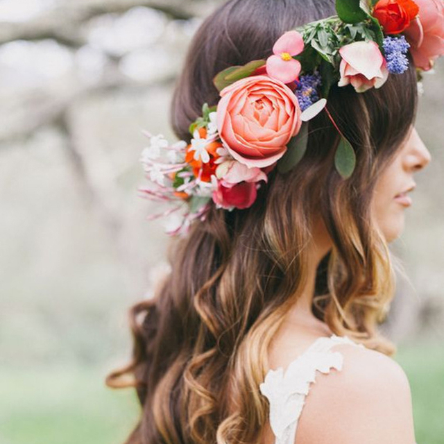 Women Bride Flowers Headband Bohemian Style Rose Flower Crown Hairband Las Elastic Beach Hair Accessories Fl