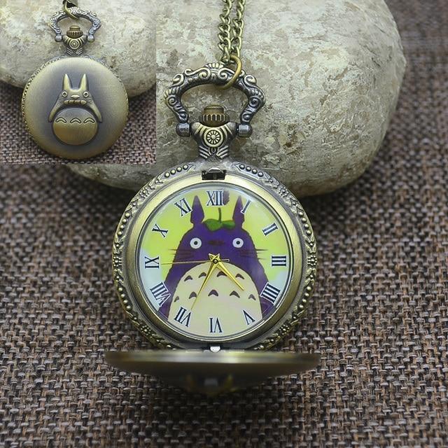 Wholesale Quartz Fashion Totoro Pocket Watch Necklace Woman Chinchilla Lanigera