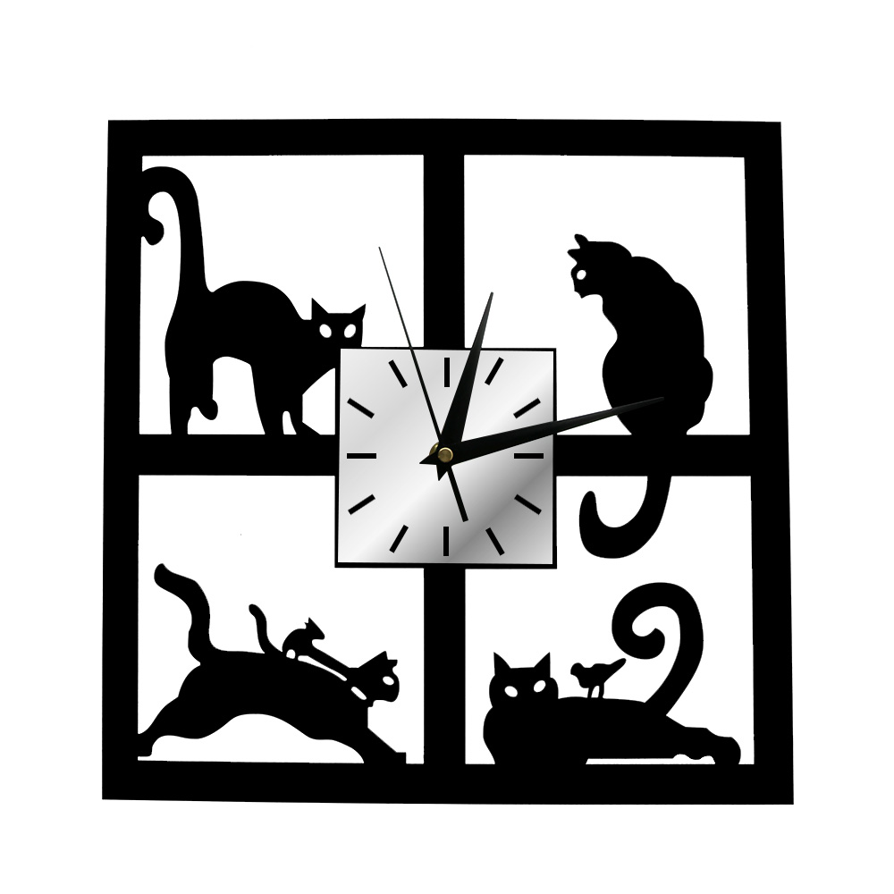Adorable Cats In The Window Wall Clock Four Cats Decorative Wall Watch 3D Black Kitten Slient Quartz Clock Home Decor Cat Gifts
