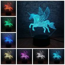 3D Animal Unicorn Horse Night Light LED Illusion Lamp USB 7 Colors Change Colorful Gradient Visual Lighting Decor Kids Gift Toys(China)