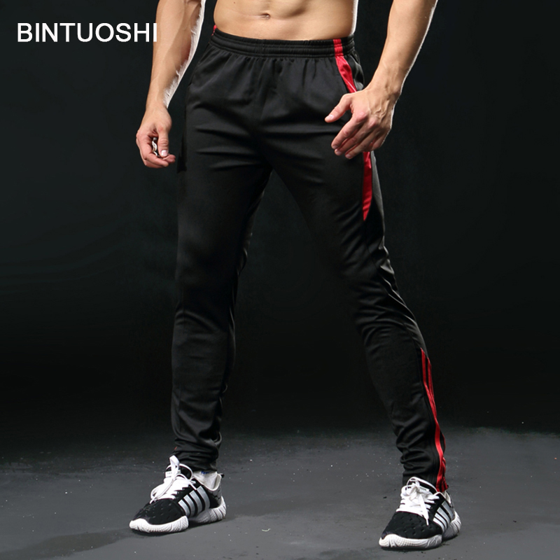 BINTUOSHI Jogging Pants Men With Pocket Football Soccer Training Pants Fitness Workout Running Sport Trousers