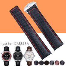 19mm/20mm/22mm Genuine Leather Fiber Watch Band For T a g Man Rubber Strap Durable Replacement Black Blue Brown