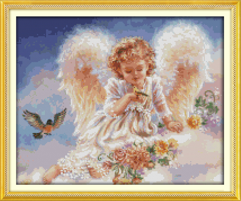De kleine engel en vogels bedrukte doek DMC geteld Chinese borduurpakketten afgedrukt Kruissteek borduren Handwerken