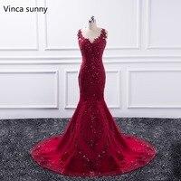 Sexy Long Evening Dress 2019 Sheer O Neck Prom Gown Mermaid Party Dresses Red vestido de festa Sequin Formal Robe de soiree