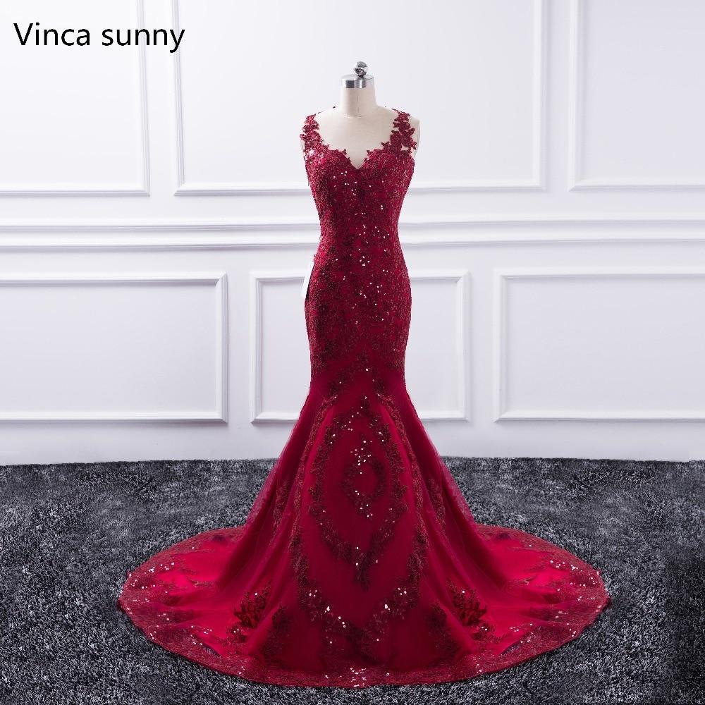 Sexy Long Evening Dress 2020 Sheer O-Neck Prom Gown Mermaid Party Dresses Red Vestido De Festa Sequin Formal Robe De Soiree