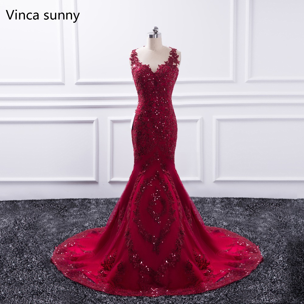 Sexy Long   Evening     Dress   2019 Sheer O-Neck Prom Gown Mermaid Party   Dresses   Red vestido de festa Sequin Formal Robe de soiree