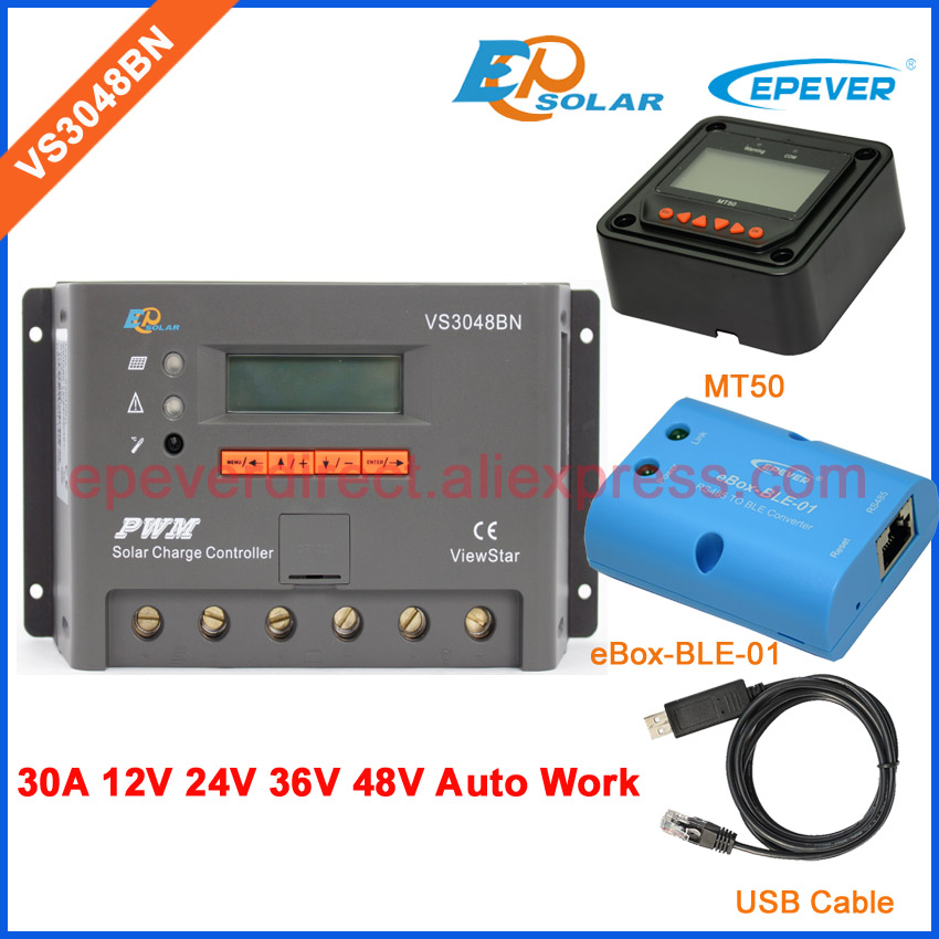 PWM EPEVER 30A VS3048BN 30amp solar Charger Controller 48volts LCD display bluetooth and USB cable connection MT50 meterPWM EPEVER 30A VS3048BN 30amp solar Charger Controller 48volts LCD display bluetooth and USB cable connection MT50 meter