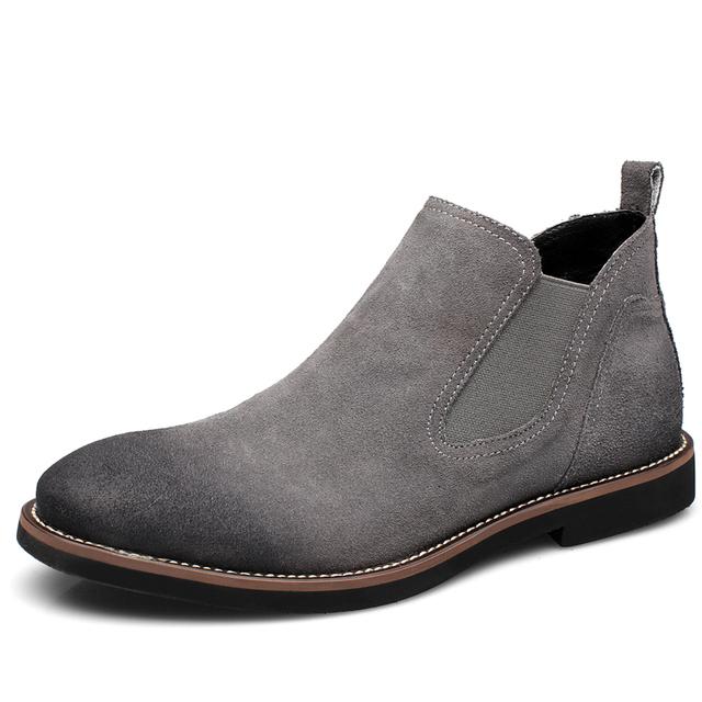 Botas de Camurça de Couro Dos Homens do vintage Real Chelsea Boots para sapatos de Caminhada Ocasional de Lazer Sapatos Martins Tornozelo Flats Queda Quente do Inverno da Pele