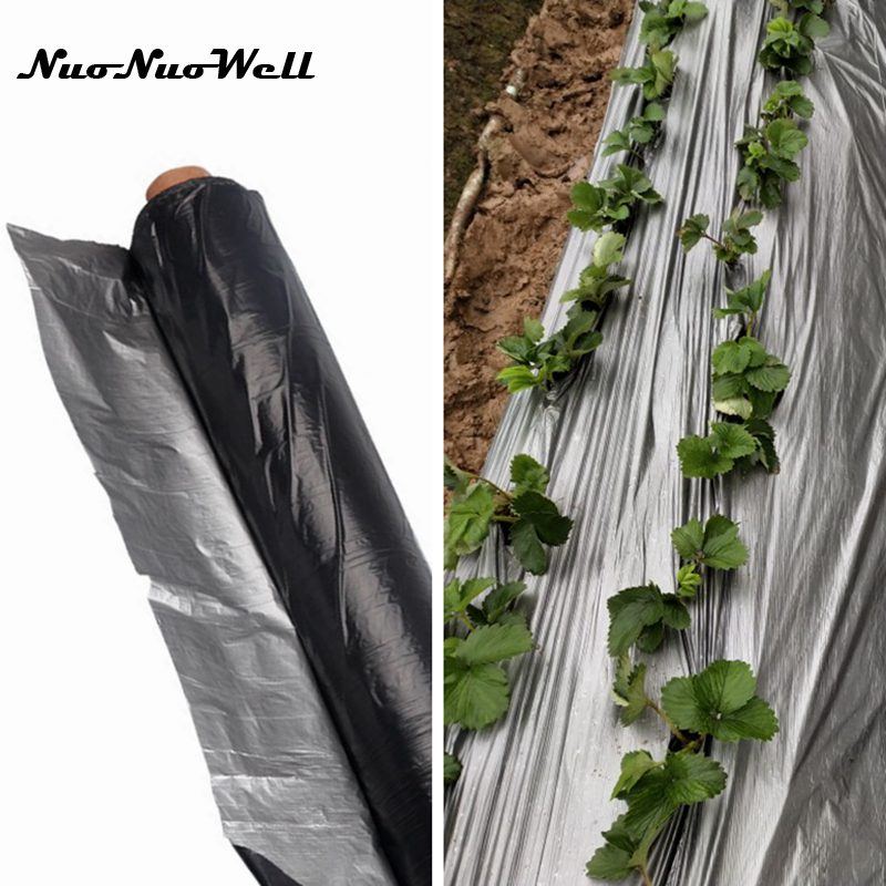 0.012mm Agriculture Silver Black Mulch Film Greenhouse Keep Warm Insect Control Ground Film Reflective Film Reflective Foil