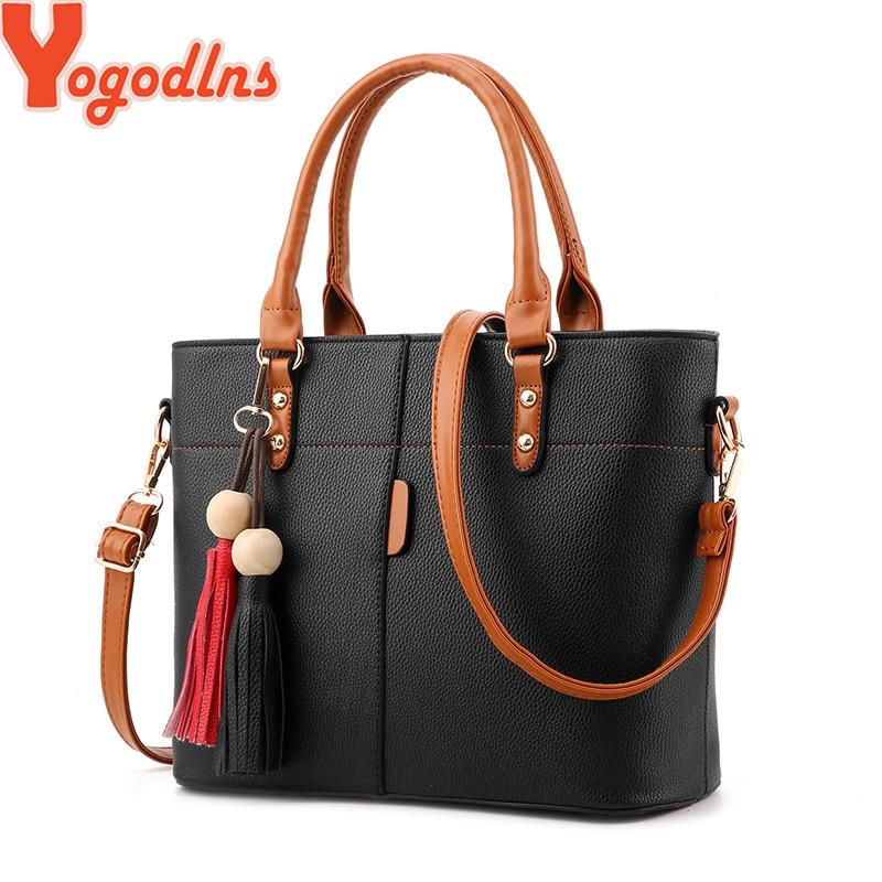 Yogodlns Large Capacity Tassel Tote Bag Women Soft Leather Ladies Handbag Crossbody Messenger Bags Female Purse Shoulder Bag