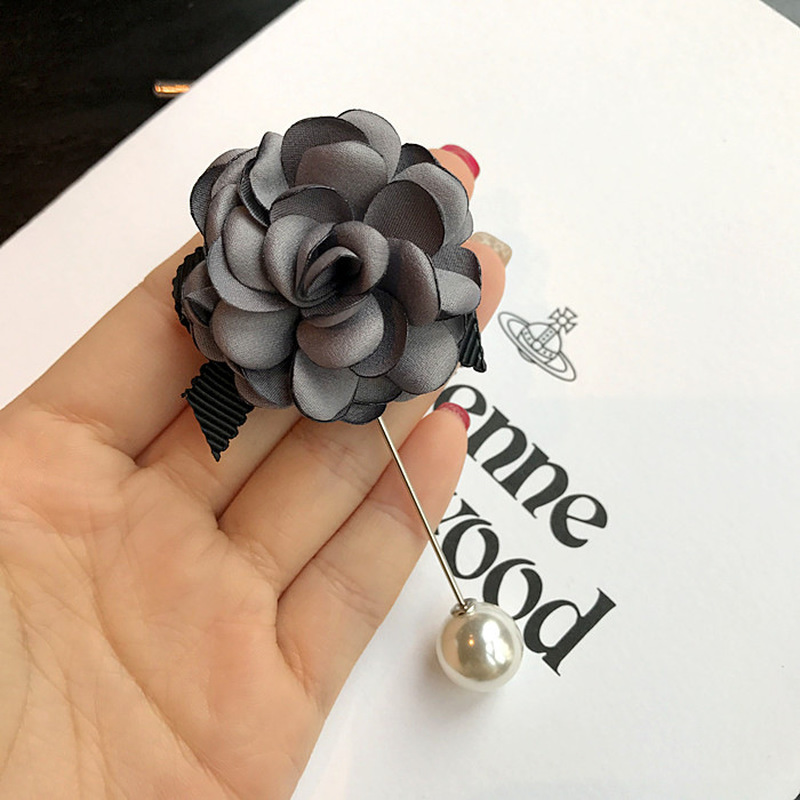 Korean Simple Elegant Delicate Fabric Flowers Brooches for Women Men Fashion Clothes Corsage Jewelry Accessories Long Needle