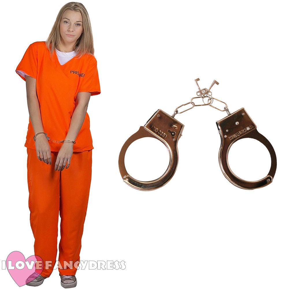 Ladies Orange Inmate Uniform Convict Prisoner New Black Fancy Dress Costume Girl