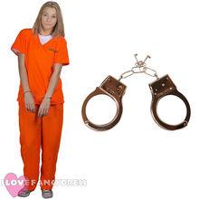 WOMENS PRISONER COSTUME ORANGE TOP TROUSERS CONVICT WOMEN LADIES HALLOWEEN  PARTY COSPLAY FANCY DRESS S- d43276470812