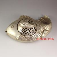TNUKK Antique bronze plated silver copper copper fish incensory Home Furnishing antique decorative craft gift.