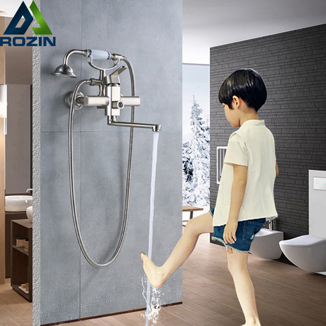 Wall Mounted Bathroom Tub Sink Faucet Single Lever Handheld Bath