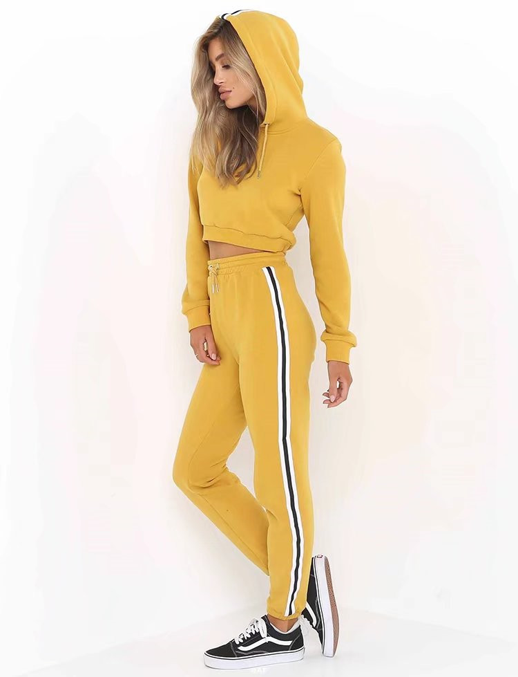 2017 Autumn Womens Top And Pants Sweatshirts Patchwork Sporting Sweat Suits Hoodies Tracksuit Sweatshirt Two Piece Trousers