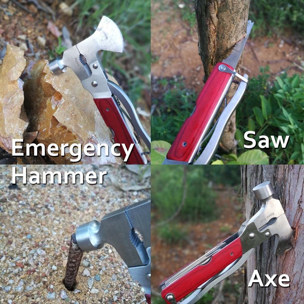 Image 4 - MYSBIKER портативный многофункциональный инструмент Многофункциональный карманный мини инструменты с топором молоток плоскогубцы набор деревянной ручкой