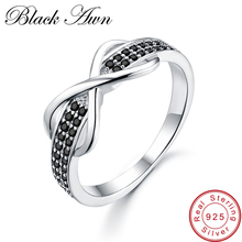 [BLACK AWN] 925 Sterling Silver Fine Jewelry Trendy Engagement Bague for Women Wedding Rings Size 6 7 8 C090