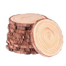 Koło niedokończone naturalne drewno kory drzewa dziennika plastry do prac ręcznych Craft zdjęcie rekwizyty boże narodzenie Ornanments DIY tanie tanio Drewno PODŁUBAĆ Pakiet
