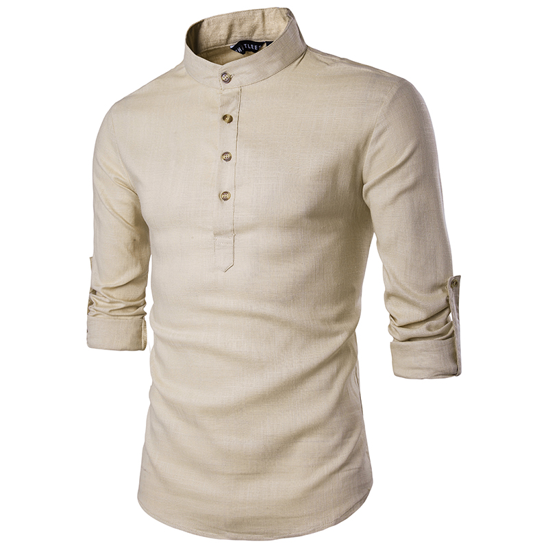 2019 Men Casual Shirt Long Sleeve Mandarin Collar Shirts Solid Color Traditional Chinese Style Shirt Cotton Blended Plus Size