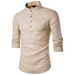 2019 männer casual Shirt langarm Stehkragen shirts einfarbig Traditionellen Chinesischen Stil shirt Baumwolle Gemischt plus größe
