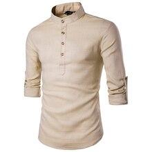قميص رجالي غير رسمي موديل 2019 بأكمام طويلة وقمصان بتصميم بلون سادة وقميص بتصميم صيني تقليدي من القطن المخلوط بمقاسات كبيرة