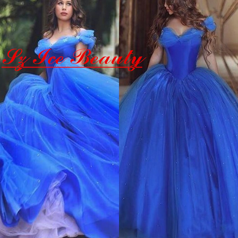 b4a442985f1 Cinderella Royal Blue Off Shoulder Quinceanera Dresses With Short Sleeve  Girls Ruched Tulle Beaded Party Prom Dress Vestidos-in Quinceanera Dresses  from ...