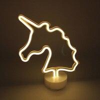 Neon Night Light Unicorn Flamingo Star Heart Christmas Tree Lightning Cactus LED Desk Lamp For Baby