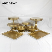 7 PCS/Set Wedding Metal  Cup Wholesale Crystal New Design Fashion Gold Cake Stand