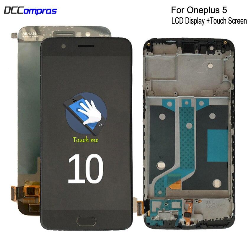 Origine AMOLED Pour Oneplus 5 A5000 écran lcd ensemble numériseur à écran tactile Pour Un plus 5 écran d'affichage lcd Avec Cadre