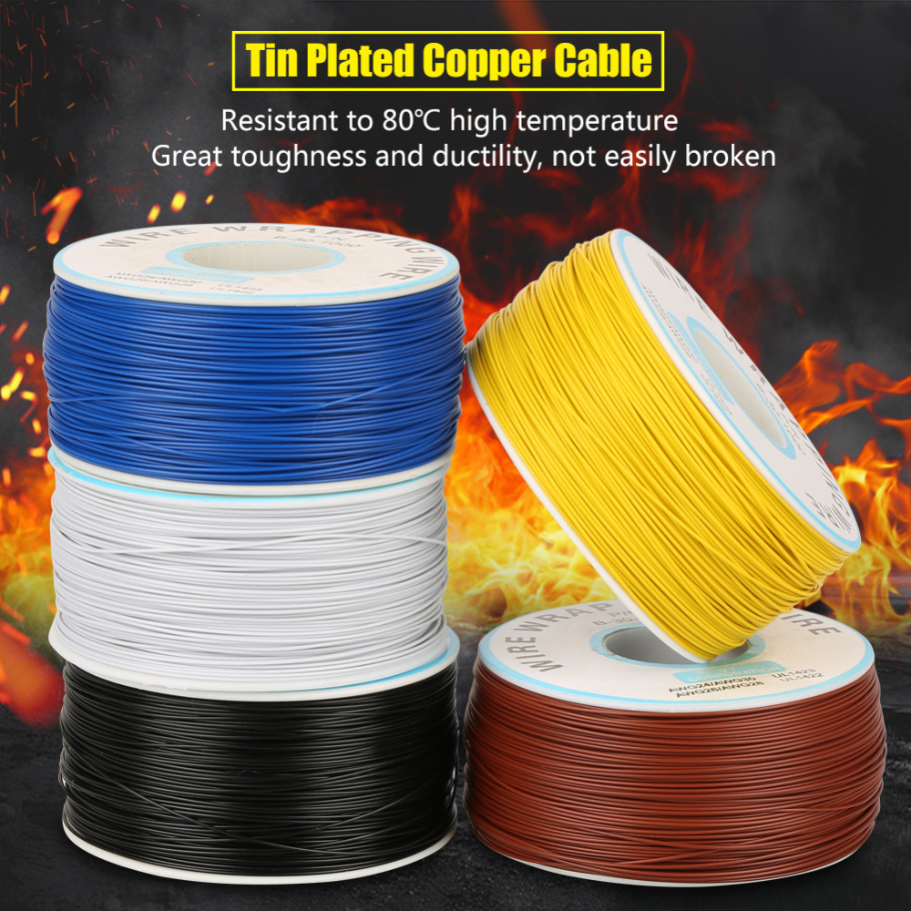 1roll High Temperature Wire Cable Wrapping Single Copper Strand Wiring 30awg Jumper 025mm Core Diameter In Wires Cables From Lights Lighting