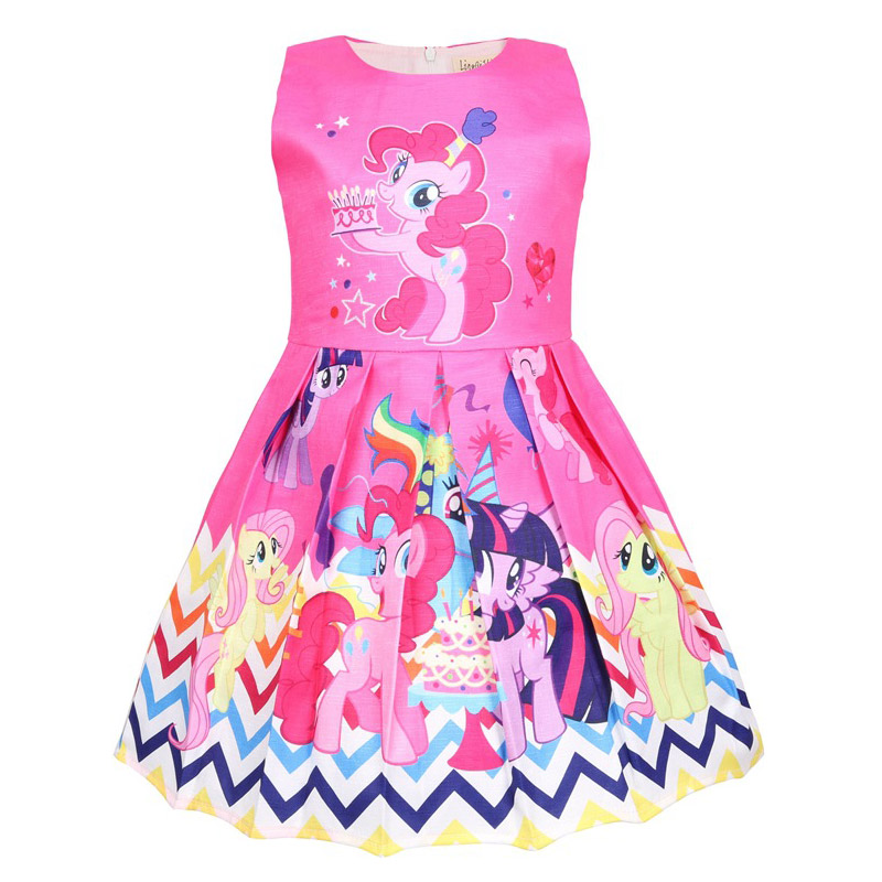 Summer Princess Little Pony Rainbow Dresses For Girls Halloween Birthday Party My Baby Unicorn Vestidos Dress Clothing 6