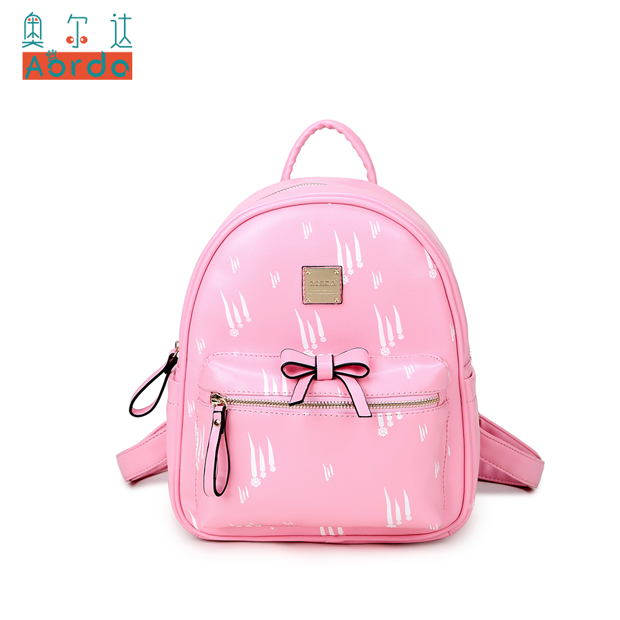 AORDA Sweet Lady Backpack For Girls Black Pink PU leather with print snow Backpack For women