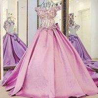robe de soiree 2017 A line Satin Lace Flowers Beading Cheap Long Evening Dress Formal Dress ZL105