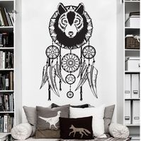 Hippie Dreamcatcher Wolf Bohemian Wall Decal Art Decor Sticker Vinyl Wall Stickers Home Decor Bedroom Stickers