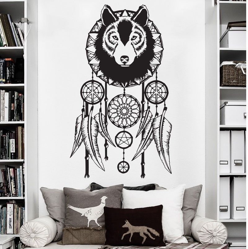 <font><b>Hippie</b></font> Dreamcatcher Wolf Bohemian Wall Decal Art <font><b>Decor</b></font> Sticker Vinyl Wall Stickers <font><b>Home</b></font> <font><b>Decor</b></font> Bedroom Stickers Muraux Vinilos