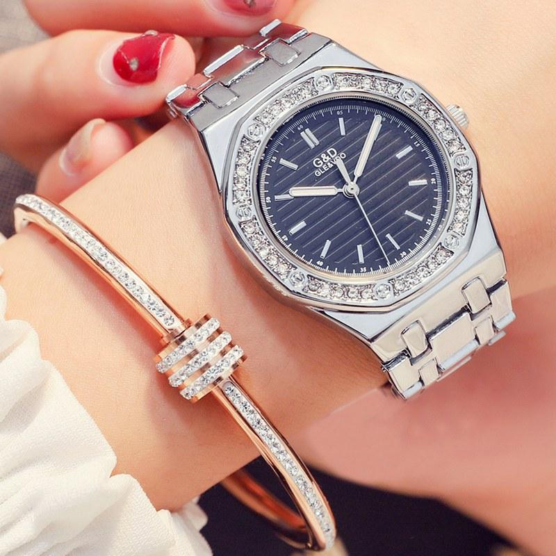 G&D 2018 New!! Lady Rhinestone Fashion Watch Women Quartz Watch Women's Wrist Watches Female Dress Clock Xfcs Relogio Feminino