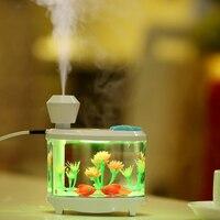 Alanchi 460ml Fish Tank USB Humidifiers LED Light Air Ultrasonic Humidifier Essential Oil Aroma Diffuser Mist