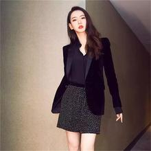 Fashion velvet Blazers Female retro small suit female jacket