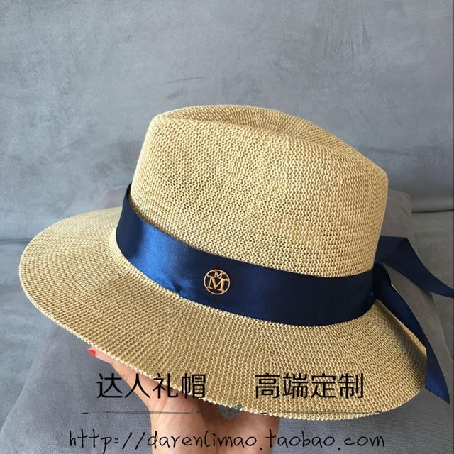 Kustom melubangi dangkal berwarna krem topi navy pita biru topi jerami  perempuan topi pantai topi matahari 772f5f77ae